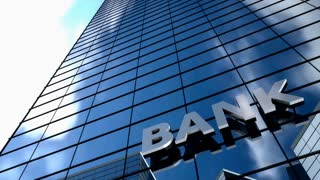 Bank building blue sky timelapse.
