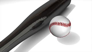 Baseball animation, ball and bat over white.