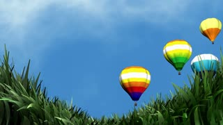 Beautiful breezy day and hot air balloon.