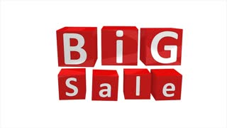 Big sale concept 3d animation, store, mart, shopping, season.