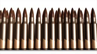 Bullet animation, 5.56mm bullets, metal, fired, gun.