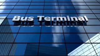 Bus terminal blue sky timelapse.
