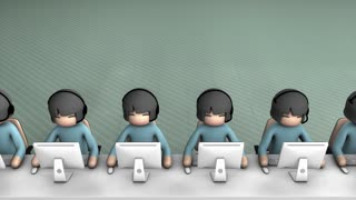 Call center concept animation. With alpha matte.