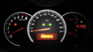 Car speed meter close up, dashboard, race.