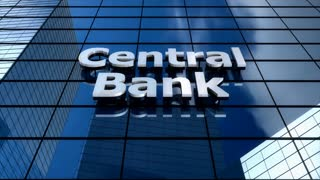 Central bank building blue sky timelapse.