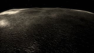 cg animation moon flyover, space, zero-gravity, space craft.