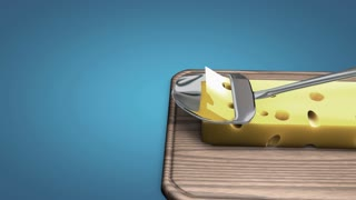 Cheese slicer slow motion