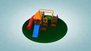 Children playground on cut out grass.