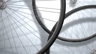 Close-up bicycle wheel spinning, shop, background..