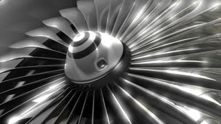 Close up turbine engine front fan, engineering, jet, commercial.