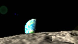 Concept animation, distance of earth and moon.