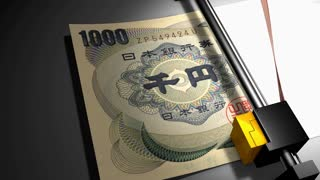 Concept animation, Japanese Yen money printer.