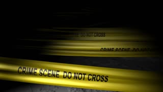 Concept animation, police crime scene tape, no trepass, murder.