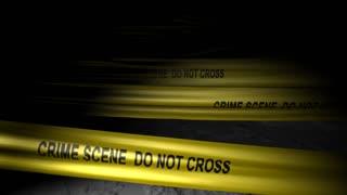 Concept animation, police crime scene tape, no trepass, murder.