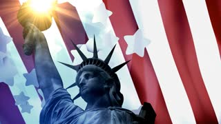Concept patriotic animation, Statue Liberty with American flag.