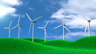 conceptual animation windturbine field, technology, eco-friendly.