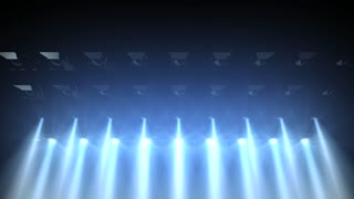 Concert lights flood animation, bright, blue, white, stage.