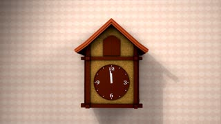 Cuckoo clock, front view with alpha matte.