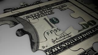 Dollar puzzle concept animation, crisis, value, future, devalue.