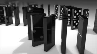 Dominos effect 3d animation, flip, fall, interaction, art.