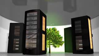 Eco-friendly server room, technology, rack, tree.