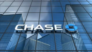Editorial, Chase bank logo on glass building.