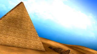 Egyptian pyramids animation, structure, ancient, old, aerial.