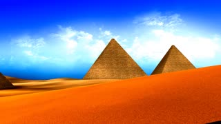 Egyptian pyramids with vivid color.