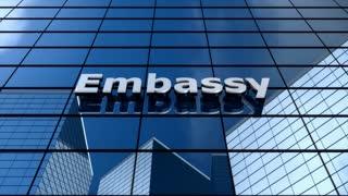 Embassy building, cloud time lapse.