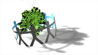 Environmental concept animation, eco-friendly, tree, people, awareness, green, safe.