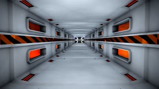 Flying inside featuristic hi-tech tunnel, space, gate.
