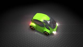 Green electric car, clean, zero emission carbon, transportation.
