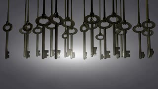 Hanging keys animation, solution, choice, pick. Matte