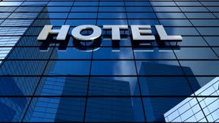 Hotel building blue sky timelapse.