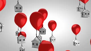 Housing price balloon concept animation. With alpha matte.