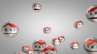 Housing value bubble concept animation. With alpha matte.