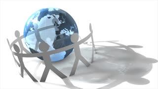Human figures circling the globe.
