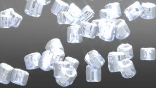 Ice cubes drop animationm, freshness, glass, liquid.