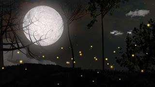 Illuminated fireflies, insect, forest, night, moon.
