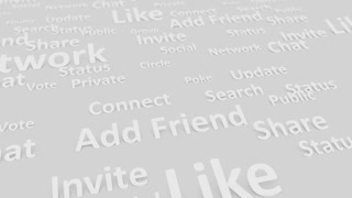 Internet social site wording, chat, community, network.