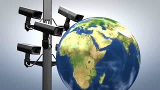 Internet surveillance, concept animation, cctv, camera.