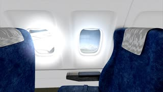 Jet plane cabin in-flight animation, empty, sit, commercial, economy, business, class.