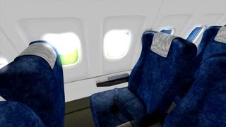Jet plane cabin in-flight animation, holiday, trip, empty, sit, commercial, economy, business, class.