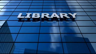 Library building blue sky timelapse.