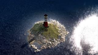 Lighthouse island daylight view, ship, sea, light, signal, safety, mark.