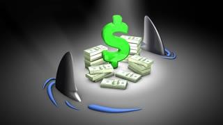Loan shark, literal, stack, money, cash.