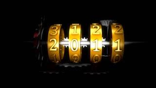 Mechanical year counter, cogwheel, complex.
