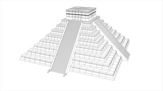 Mesoamerican/ Aztec/ Maya pyramid, wireframe and textured 360 view structural animation.