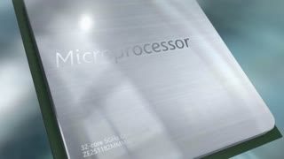 Microprocessor close-up animation.