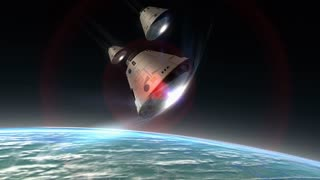 Multiple space capsules descending, module, science, space, technology